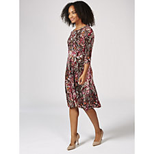 Kim & Co Floral Excitement Brazil Jersey 3/4 Sleeve Flared Dress