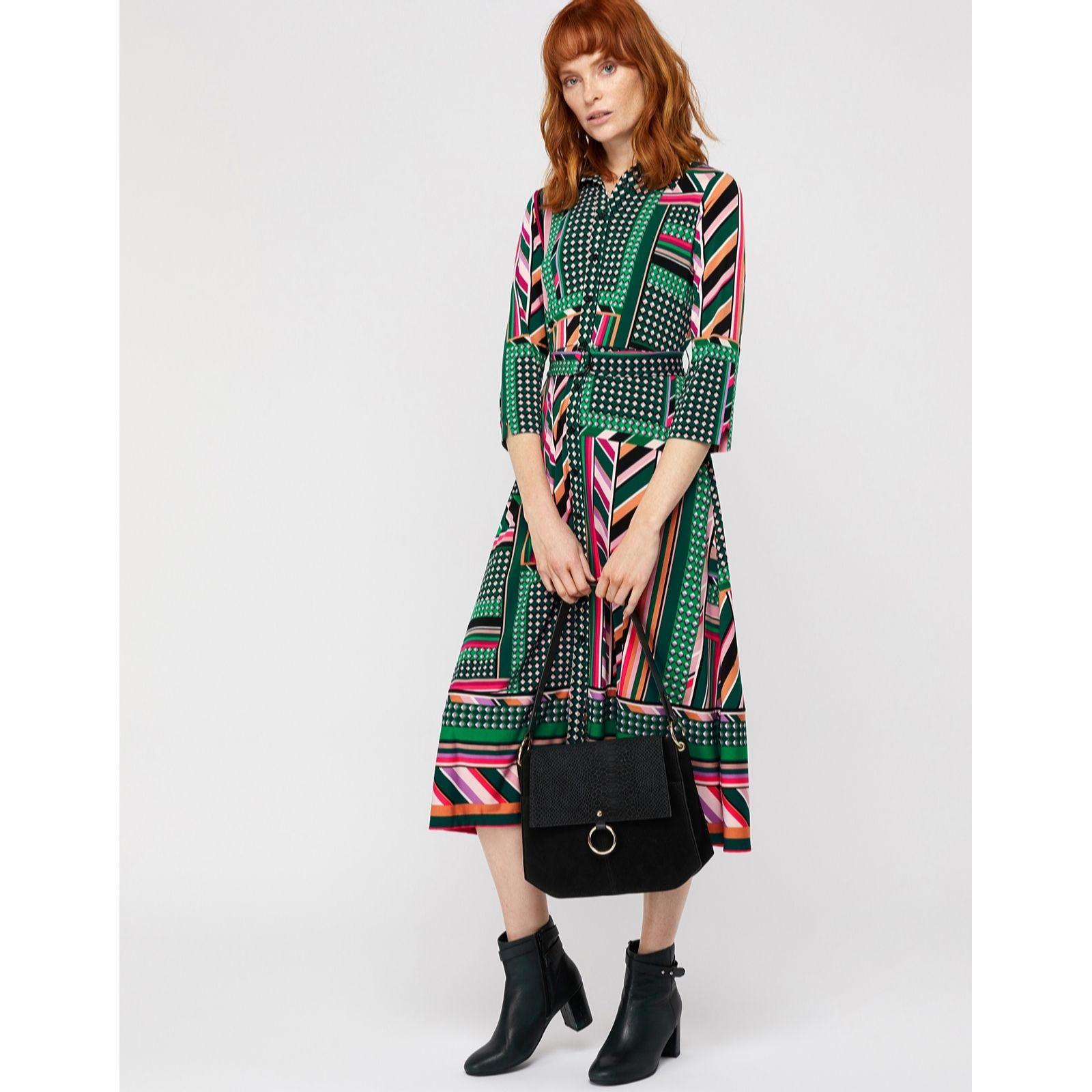 Monsoon Shalona Jersey Print Midi Dress - QVC UK