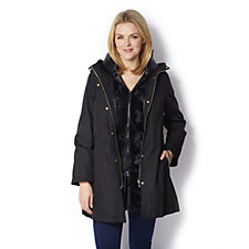 Dennis Basso Cinch Waist Parka Jacket with Removable Faux Fur Vest