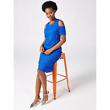 Ronni Nicole Cold Shoulder Medallion Stretch Lace Dress