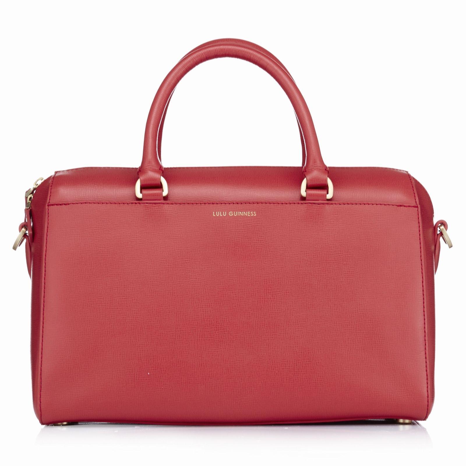 Lulu Guinness Arabella Large Leather Bowling Bag With Crossbody Strap Qvc Uk