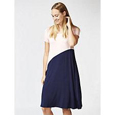 Short Sleeve Colourblock Trapeze Dress by Nina Leonard