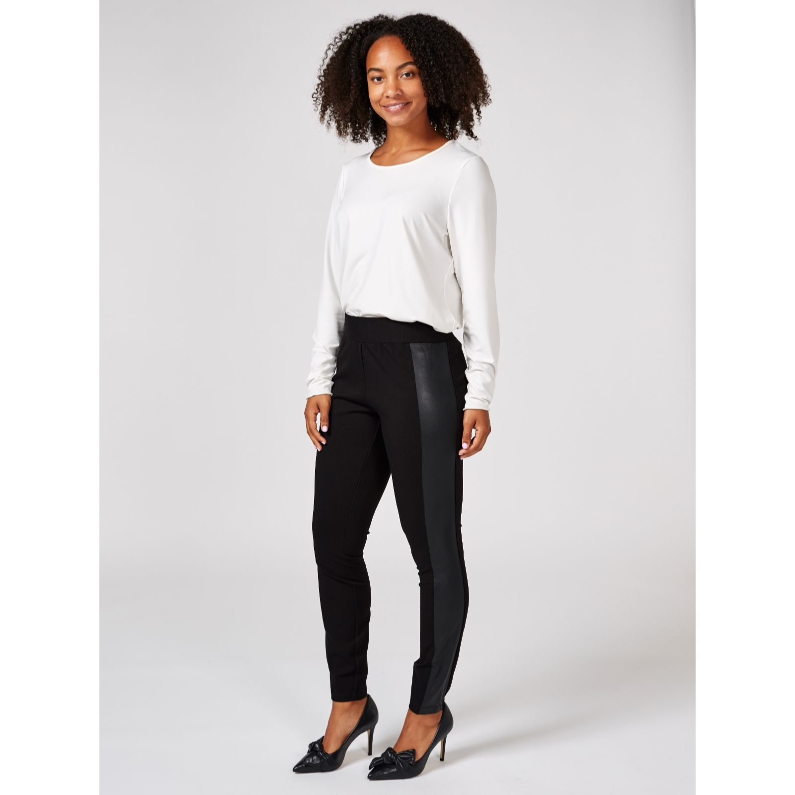 bca5a42446376 H by Halston Leggings with Faux Leather Side Panels Regular - QVC UK