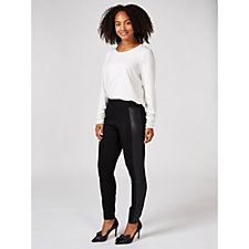 H by Halston Leggings with Faux Leather Side Panels Regular