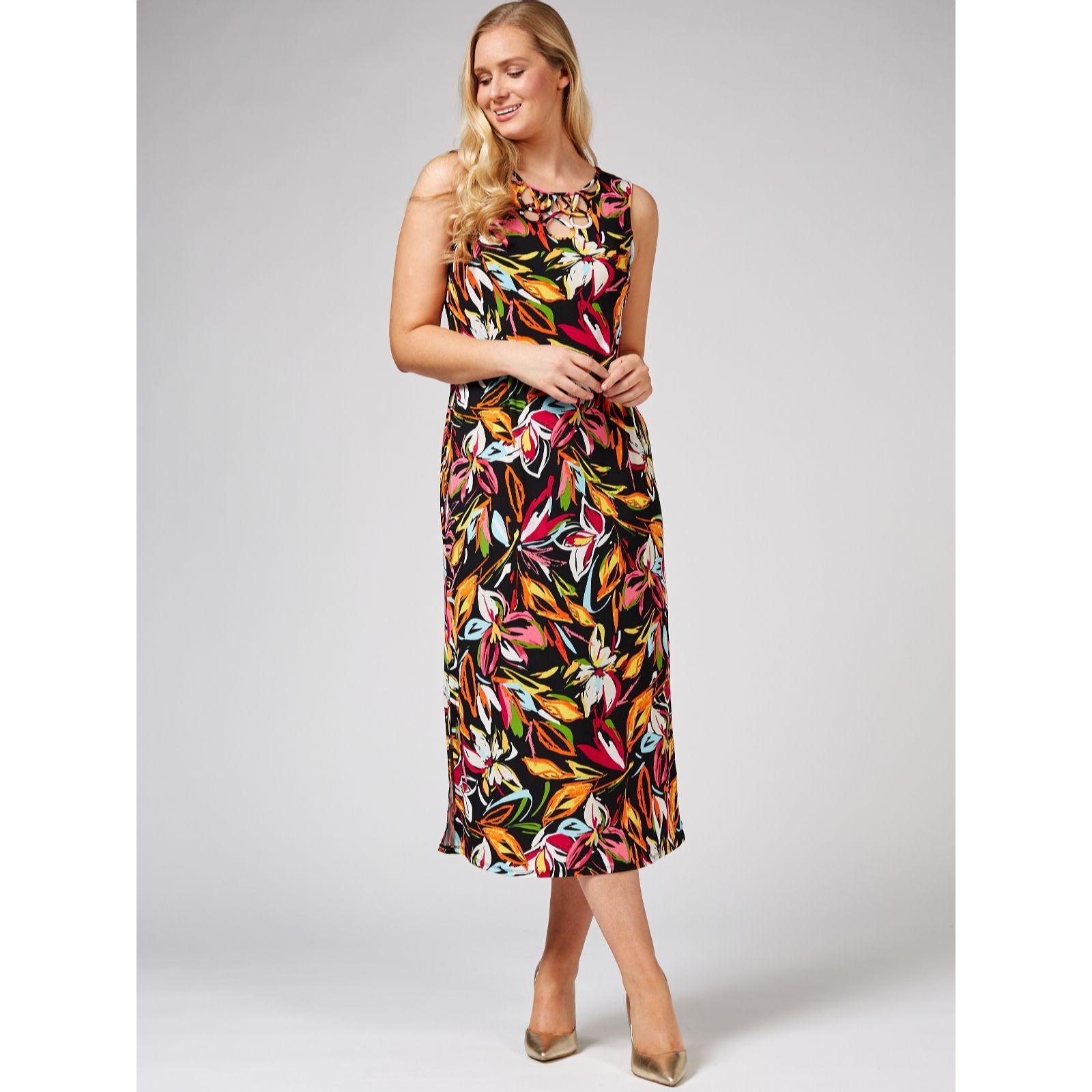 548b3da6bfe Coco Bianco Round Neck Printed Maxi Dress Regular - QVC UK