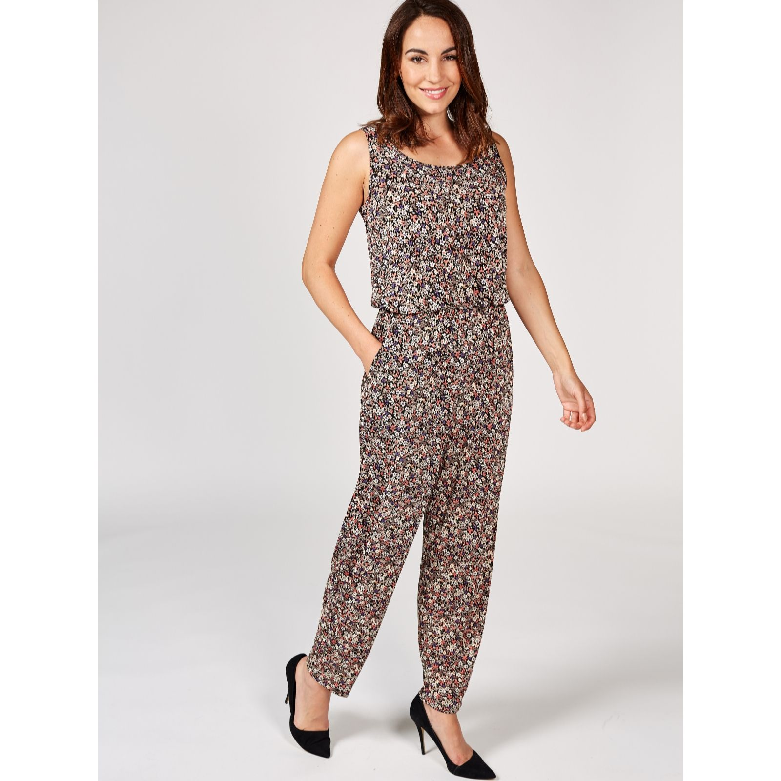 356a02c0797 Kim   Co Brazil Jersey Sweet Ditsy Sleeveless Jumpsuit - QVC UK
