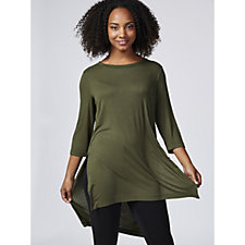 Christopher Fink Long Sleeve Ribbed Hi Lo Hem Tunic