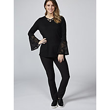 Andrew Yu V Neck Jumper with Lace Bell Sleeves