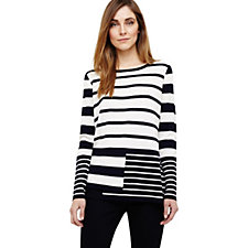 Phase Eight Felicity Mix Stripe Step Hem Knit Jumper