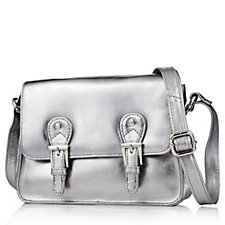 Amanda Lamb Small Leather Satchel Bag with Cross-body Strap