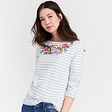 Joules 3/4 Sleeve Jersey Embroidered Harbour Top