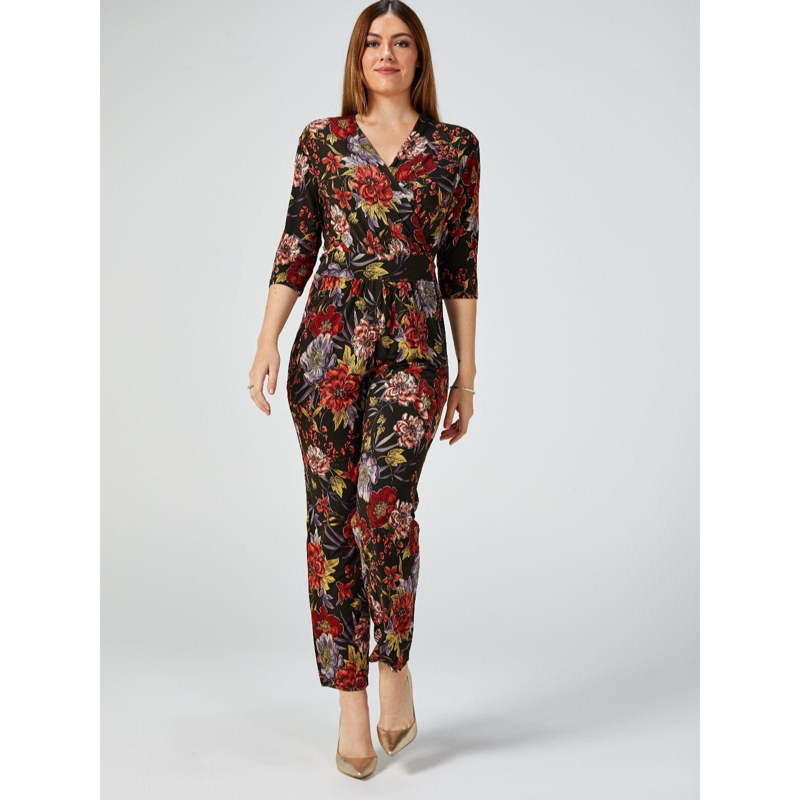 Kim /& Co Brazil Jersey 3//4 Dolman Sleeve Jumpsuit Pockets Petite Black Multi XL