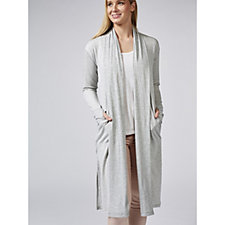 Cuddl Duds Ultra-Soft Comfort Rib Trim Detail Long Line Cardigan