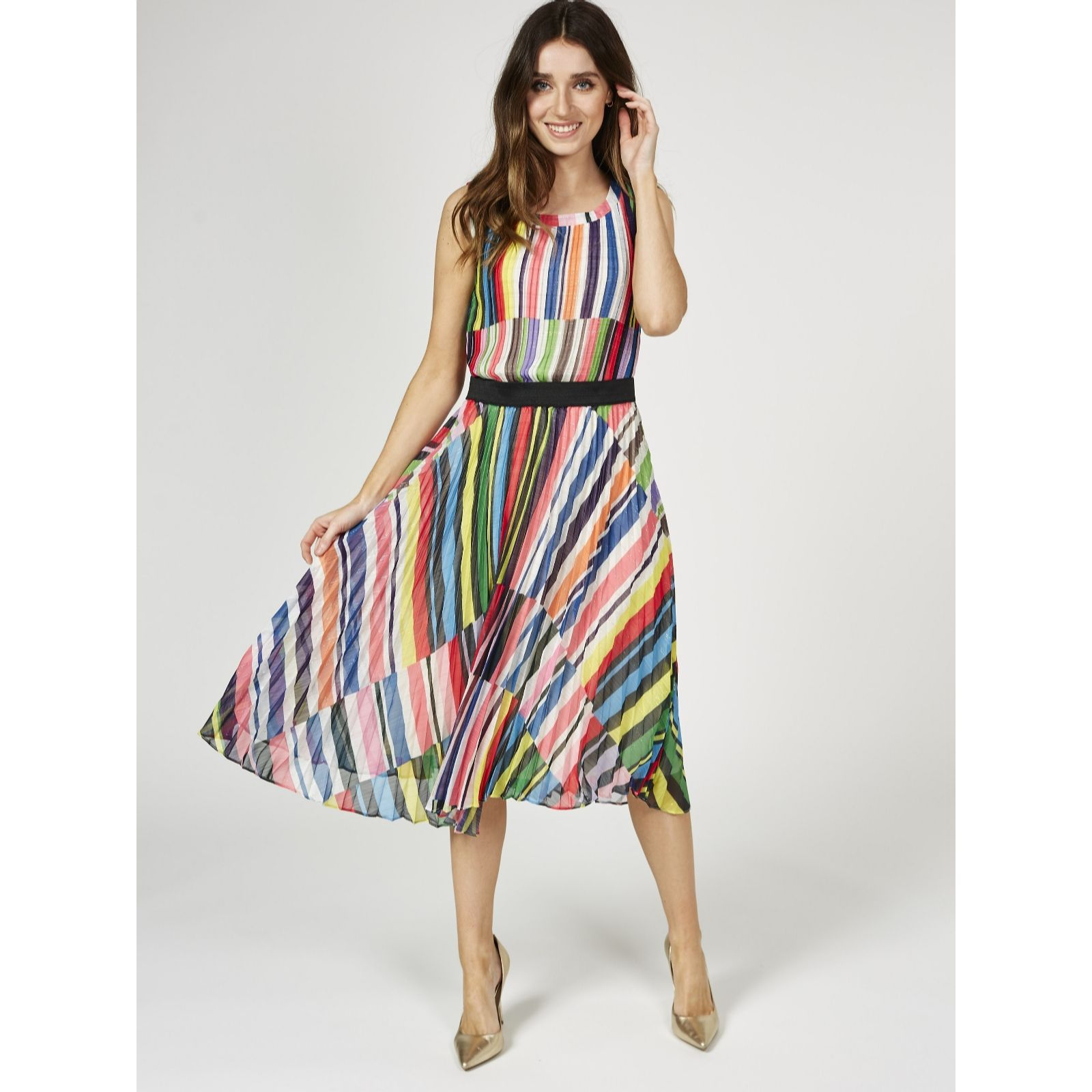 82881a2ed3a Derhy Printed Striped Sleeveless Dress with Solid Waistband - QVC UK