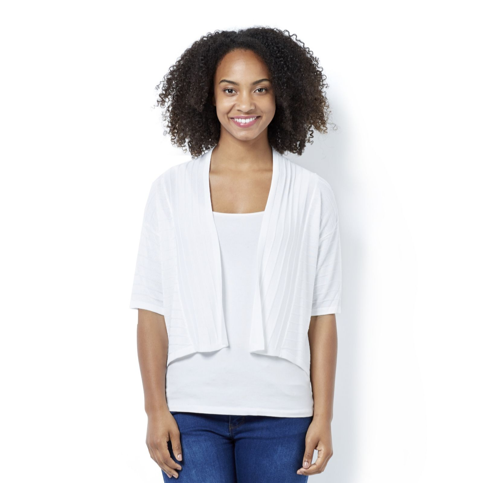d35ed0ac1be2 Marble Easy Fit Elbow Sleeve Cardigan - QVC UK