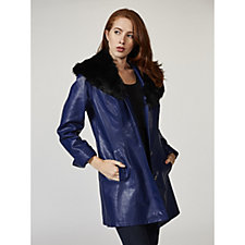 Dennis Basso Faux Leather Jacket with Removable Faux Fur Collar