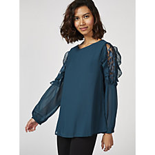 Together Lace Insert Blouse with Frill Detail Sleeves
