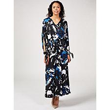 Nick Verreos Deep V-Neck & Tie Slit Sleeve Printed Maxi Dress