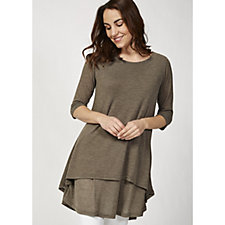 Join Clothes 3/4 Sleeve Double Layer Tunic Top