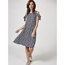 Coco Bianco 3/4 Split Sleeve Cold Shoulder Printed Dress