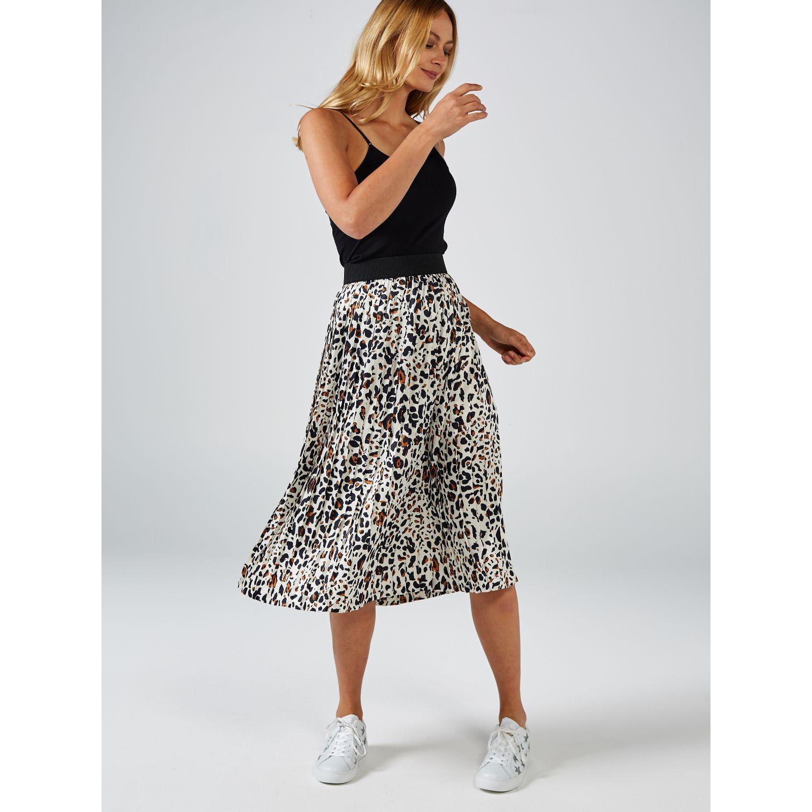 e06a71d9d5 Helene Berman Animal Print Pleated Midi Skirt - QVC UK
