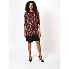 Ronni Nicole 3/4 Sleeve Printed Swing Dress with Colourblock Hem