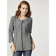 H by Halston 3/4 Sleeve Zip Up Jacquard Peplum Jacket