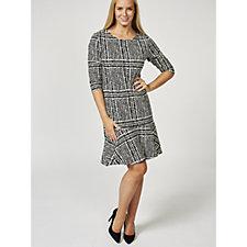 Betty & Co 3/4 Sleeve Houndstooth Frill Hem Dress