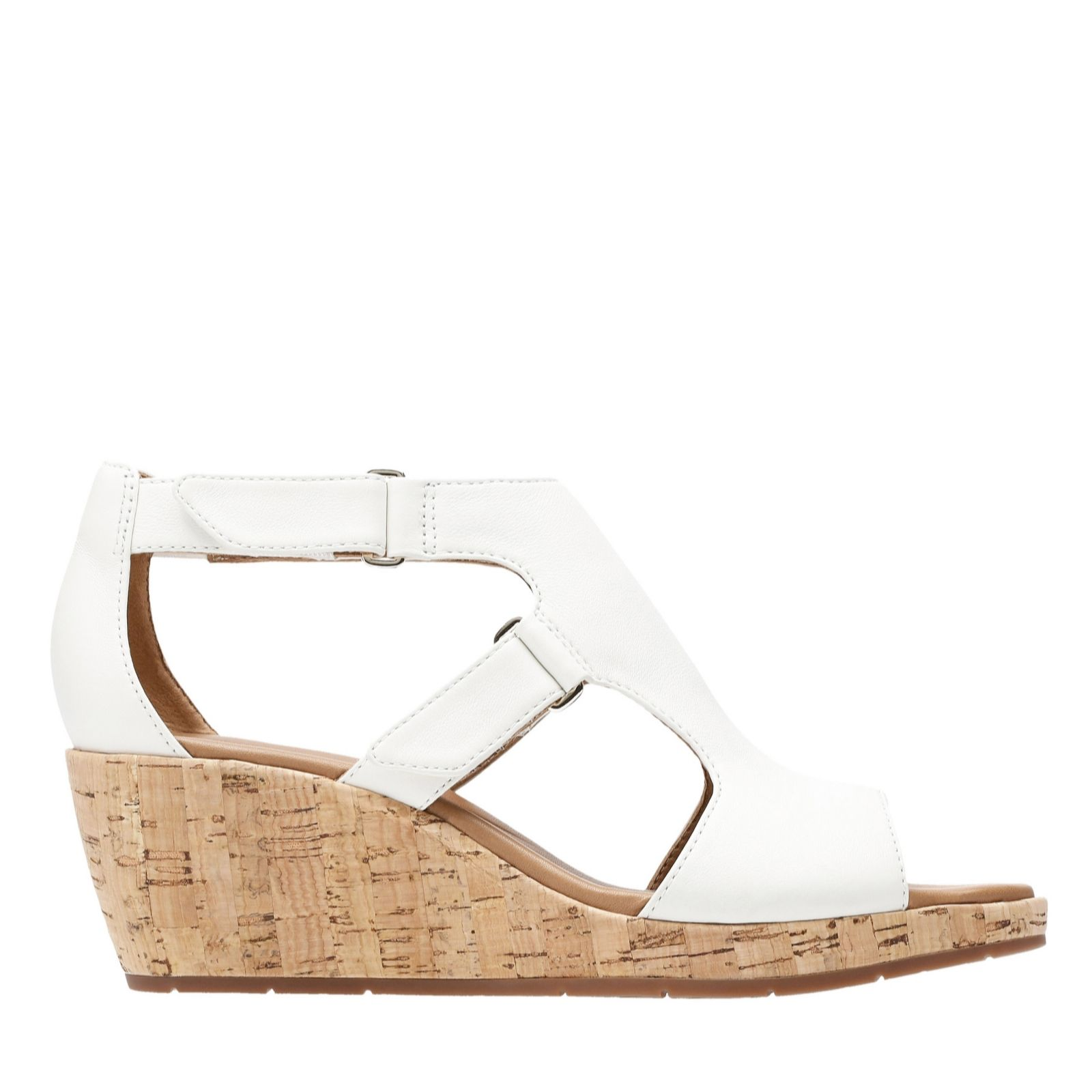 b919fd075fa Clarks Un Plaza Strap Wedge Sandal Wide Fit - QVC UK