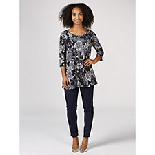 Kim & Co Shimmering Floral Foil Brazil Jersey 3/4 Sleeve Tunic