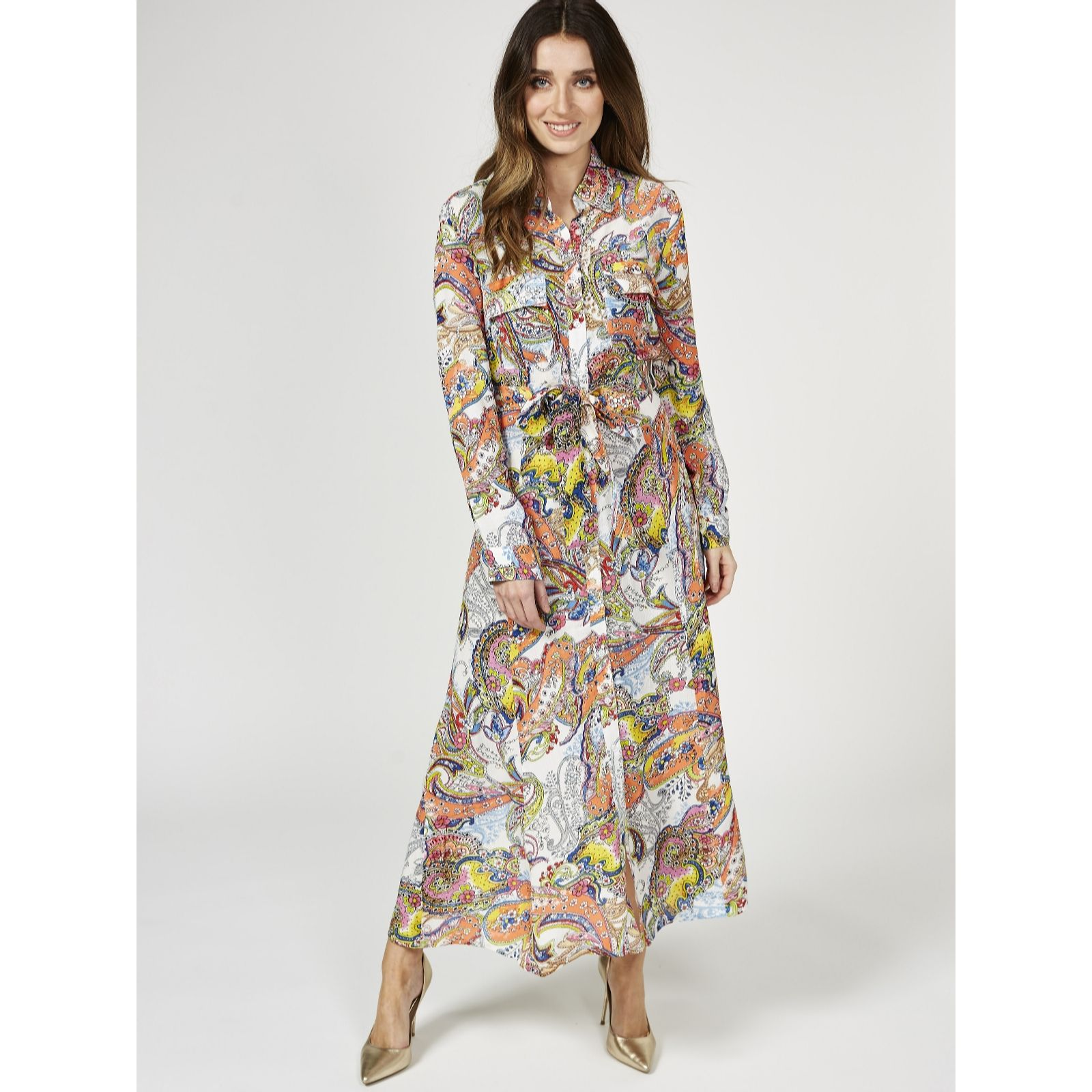 bd50d7316bbb Derhy Paisley Print Shirt Dress with Pocket Detail - QVC UK