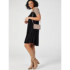 Colour Block Elbow Sleeve Trapeze Dress with Pockets by Nina Leonard