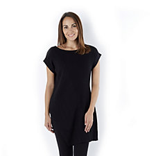 Attitudes by Renee Pleat Detail Knit Mix Tunic Asymmetric Hem