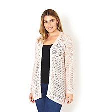 Absolutely Famous Pointelle Mix Edge to Edge Cardigan