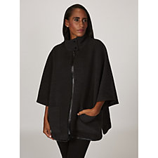 Centigrade Double Face Faux Wool Zip Front Cape