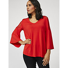 Together Lace Shoulder Top with Fluted Sleeves