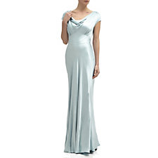 Ghost London Fern Satin Maxi Dress with Cowl Neck & Tie Back