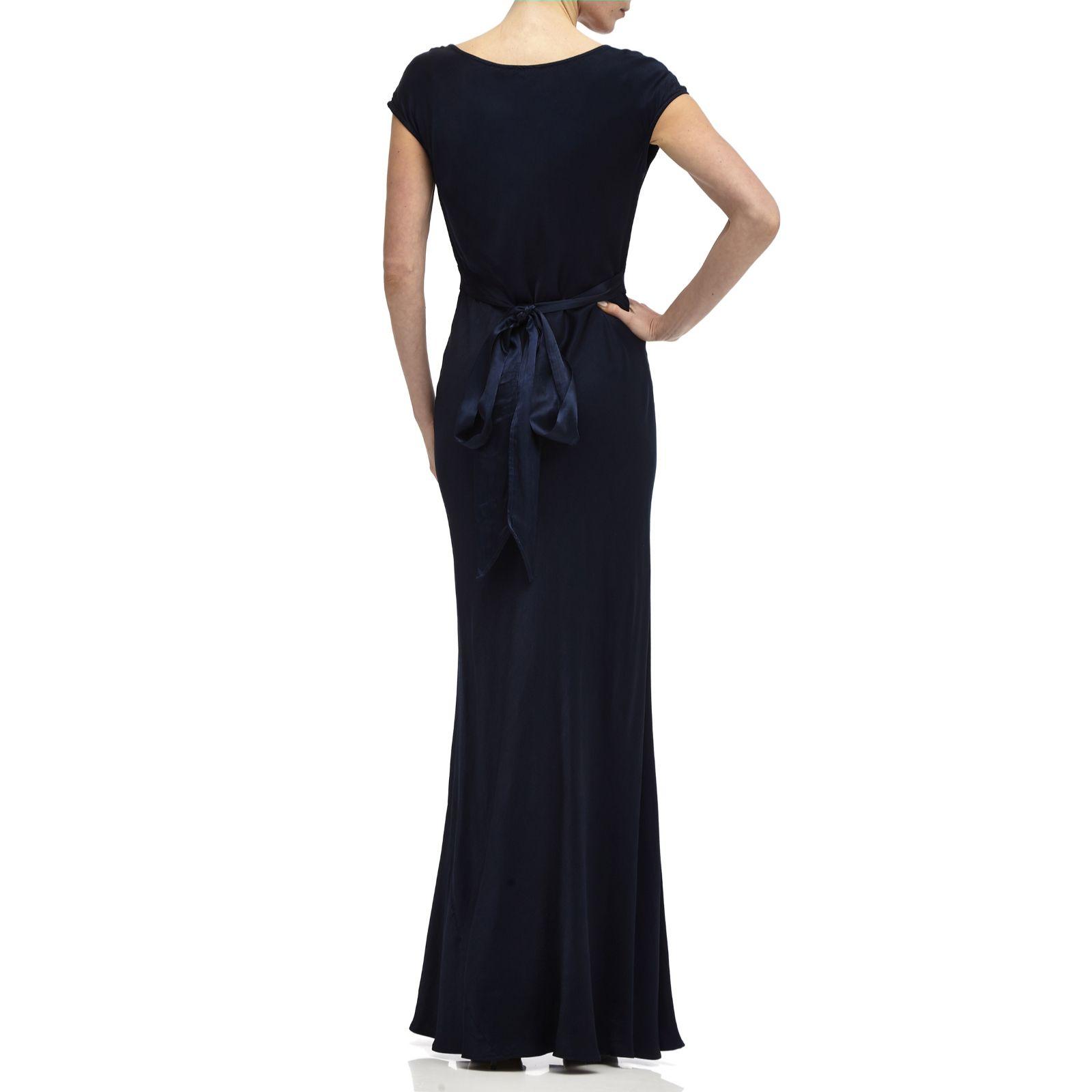 73b3c05b22 Ghost London Fern Satin Maxi Dress with Cowl Neck   Tie Back - QVC UK