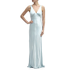 Ghost London Pearl V Neck Satin Maxi Dress