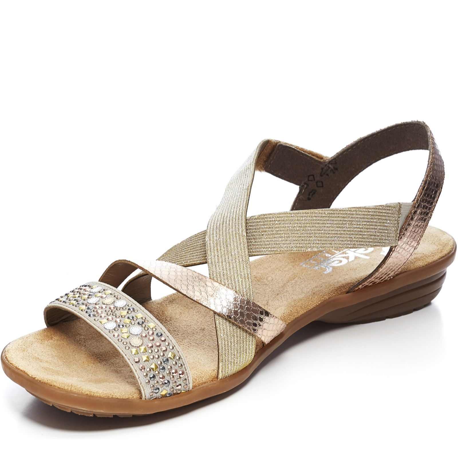 6debc34437e1 Rieker Elastic Cross Over Metallic Strap Sandal - QVC UK