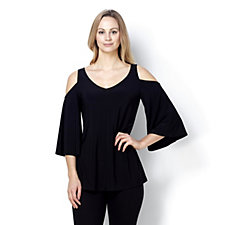 Coco Bianco V Neck Jersey Cold Shoulder Top
