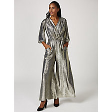 Laurie 3/4 Sleeve Metallic Belted Jumpsuit by Onjenu London