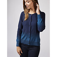 H by Halston Crop Rib Cardigan with Placed Jacquard