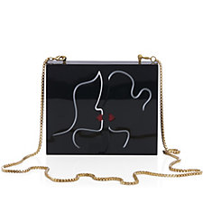 Lulu Guinness Perspex Kissing Lips Chloe Clutch with Chain Strap