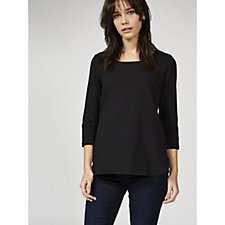 Women with Control 3/4 Sleeve Scoop Neck Shirt Tail Tunic