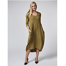 Join Clothes V Neck Ribbed Midi Dress with Dipped Back