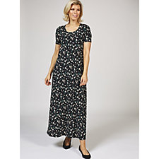 Kim & Co Printed Brazil Knit Short Sleeve Maxi Dress