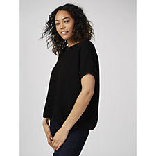 Join Clothes Short Sleeve Waffle Knit Top with Zip Detail