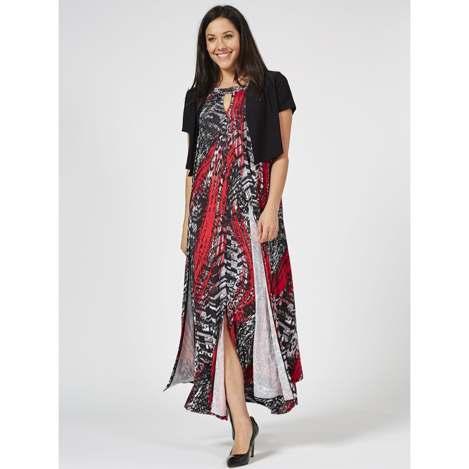 Antthony Designs Printed Halter Neck Dress With Solid