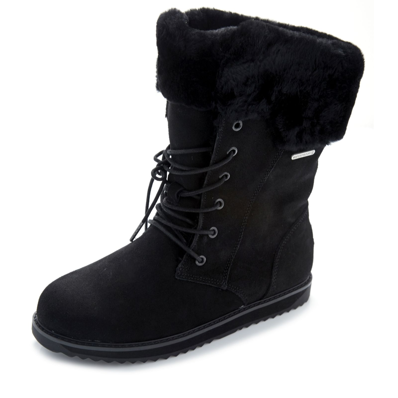 3b91177e498 Emu All Weather Shoreline Waterproof Suede Lace Front Boot - QVC UK